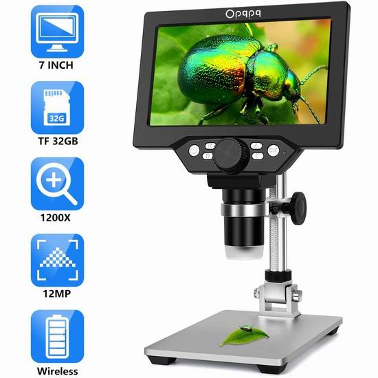 Opqpq 7吋液晶屏 可拍照录像 1-1200X倍 电子显微镜 118.99加元包邮!