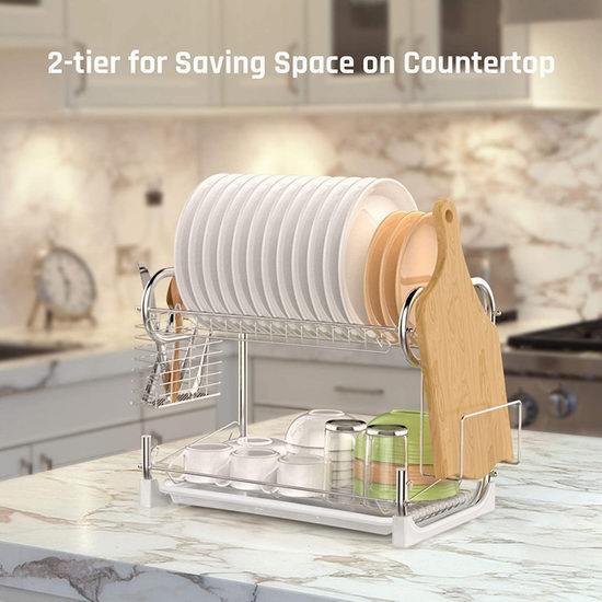 iSPECLE 双层餐具 镀铬金属沥水架 26.72-27.44加元限量特卖并包邮!3款可选!