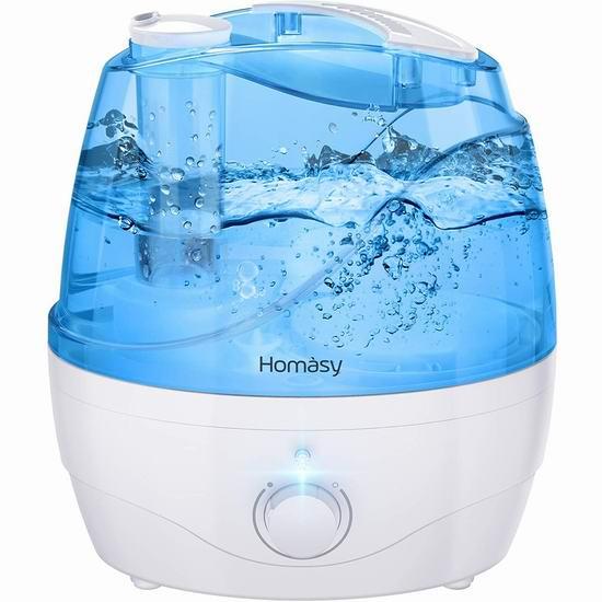 Homasy 2.2升超静音 超声波加湿器 32.99加元包邮!