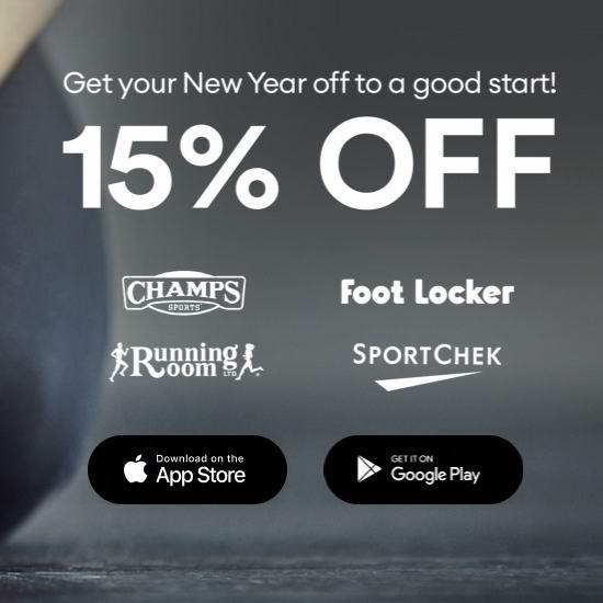 Sport Chek、Foot Locker、Champs Sports、Running Room 100加元电子礼品卡限时8.5折!
