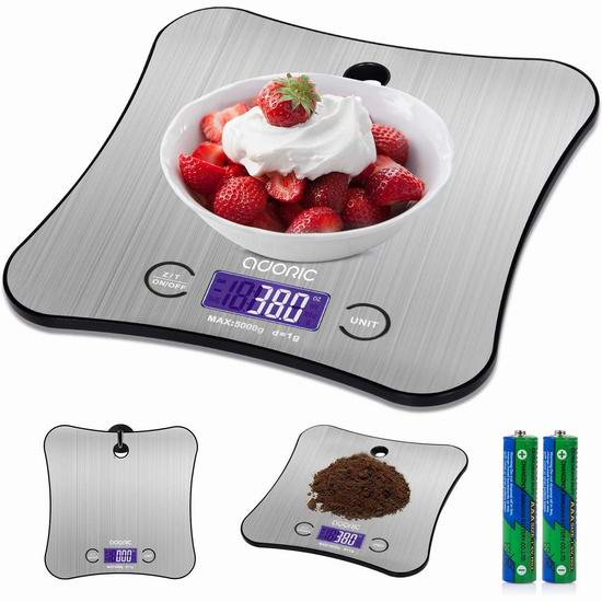 Adoric Life 时尚不锈钢厨房秤(5公斤) 15.39加元限量特卖!
