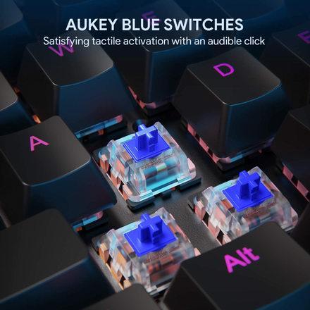 AUKEY 104键LED背光 青轴机械游戏键盘 49.99加元包邮!