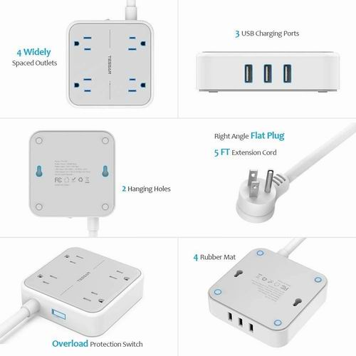TESSAN 4插座 + 3 USB充电 插线板 22.94加元限量特卖!