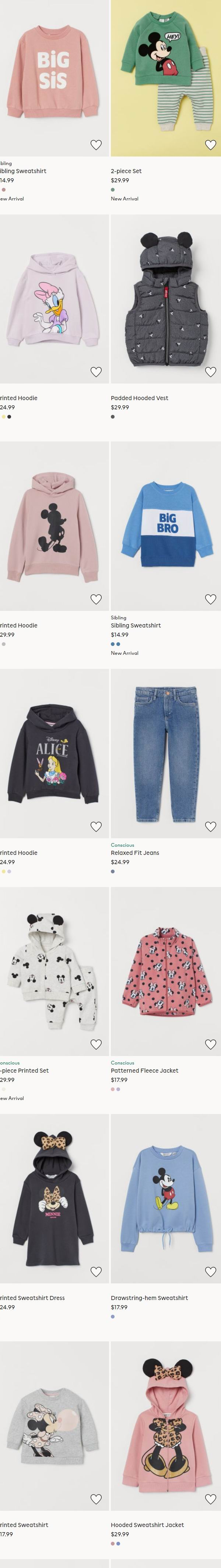 H&M 迪士尼 米奇米妮系列儿童夹克、卫衣、毛衣、套头衫 17.99加元起