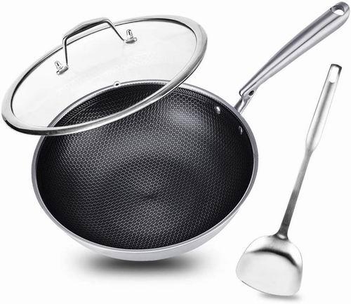 网红蜂窝不粘锅!Potinv 12.5英寸 不锈钢无烟中式炒锅+锅铲+盖子套装 87.99加元包邮!