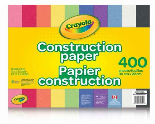 Crayola 手工艺术彩色纸 400页 10.37加元,原价 12.79加元