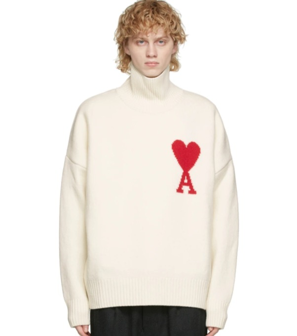 手慢断码!AMI 男士爱心高领纯羊毛毛衣 476加元,原价 670加元,包邮