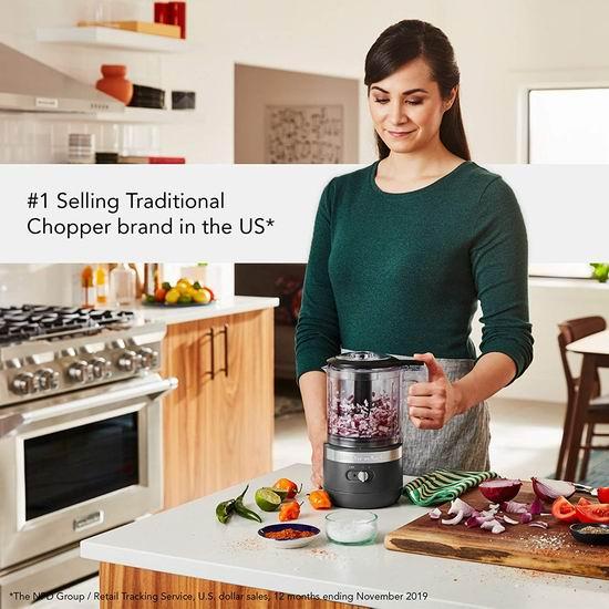 白菜补货!历史新低!KitchenAid KFCB519DG 5杯量 充电式 无绳食物处理/切碎/料理机3.3折 59.99加元清仓并包邮!