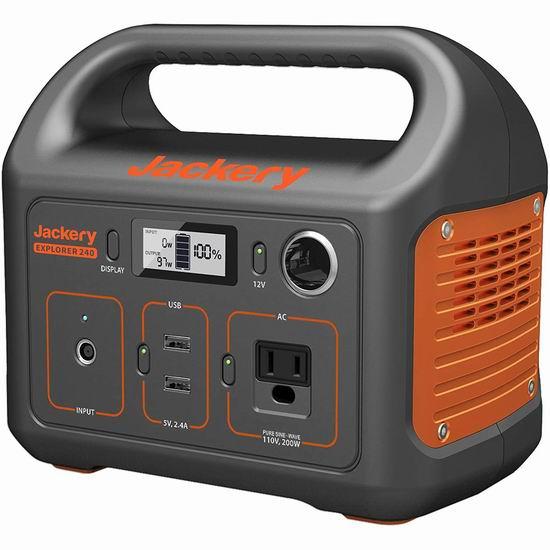 历史新低!Jackery Explorer 240 240Wh 110V/200W 便携式备用电源/移动电源 239.99加元包邮!