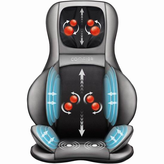 Comfier 多功能 深层指压揉捏加热 按摩椅垫 222.99加元包邮!体验按摩的超级享受!