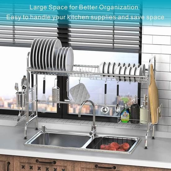 iSPECLE 大号 镀铬金属餐具沥水架6.5折 50.99加元限量特卖并包邮!