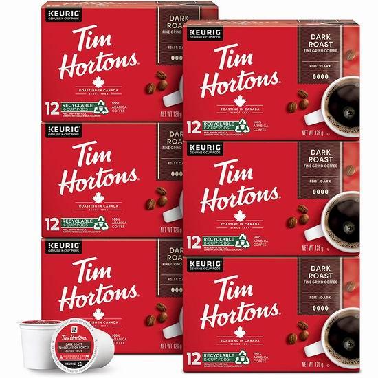 历史新低!Tim Hortons Dark Roast K-Cup 胶囊咖啡(6x12粒) 46.93加元包邮!