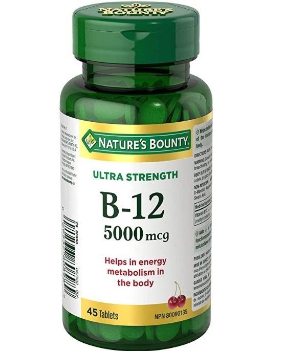 Nature's Bounty Ultra维他命B12补充剂 5000毫克  45片 樱桃味 10.44加元,原价 13.97加元