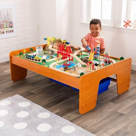 近史低价!KidKraft 17836 机场快线木质轨道玩具+游戏桌5.8折 126.97加元包邮!