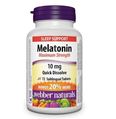 Webber Naturals Melatonin 健康睡眠 强效褪黑素片(10mg x 72片)8.64加元包邮!