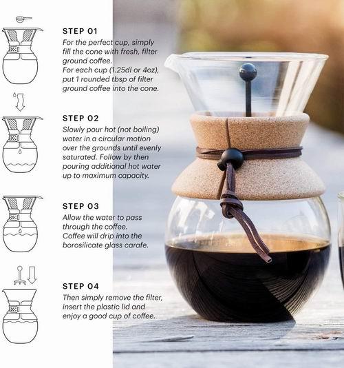 近史低价!Bodum 11571-01 固定滤网 咖啡壶 34盎司 5.1折 19.99加元,给手冲咖啡增加了一种仪式感!