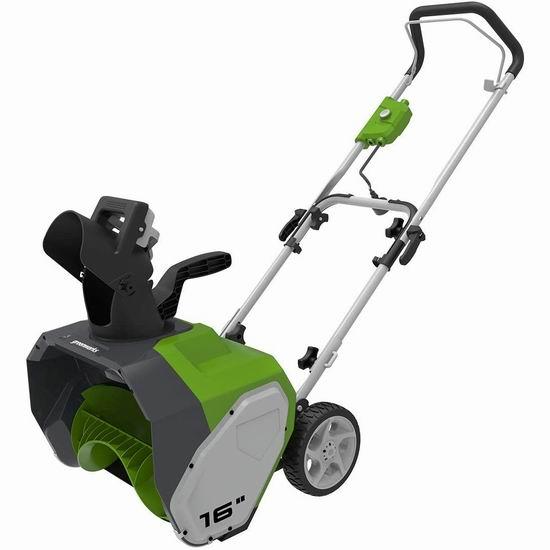 GreenWorks 10安培 16英寸电动铲雪机 150.99加元包邮!