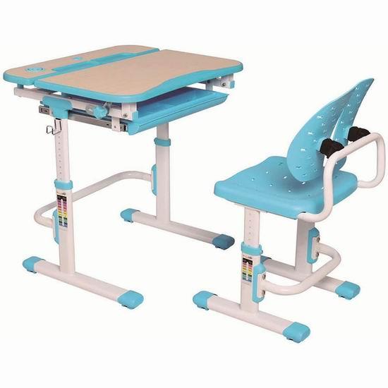 PrimeCables Ergo 可调高度 人体工学 儿童书桌+椅子套装 169.99加元包邮!