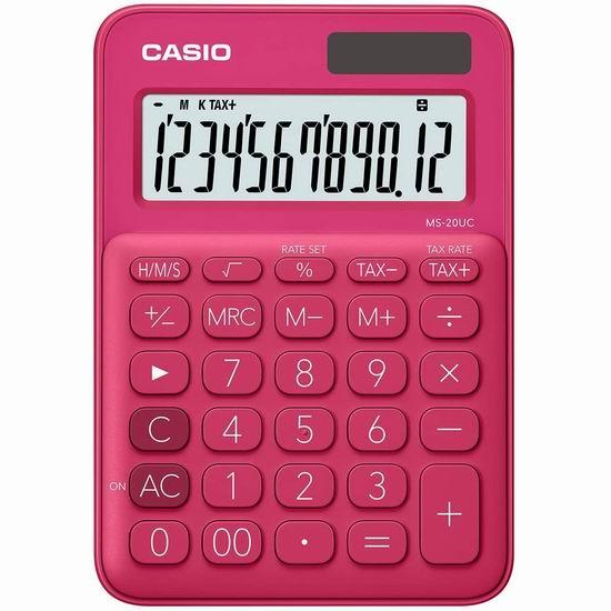 历史新低!Casio 卡西欧 MS-20UC-RD 太阳能 彩色计算器 8.19-8.8加元!2色可选!