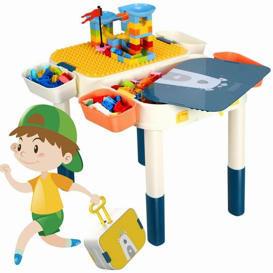手慢无!GPTOYS 六合一 多功能积木游戏桌套装3.7折 29.99加元限量特卖并包邮!送60个积木!