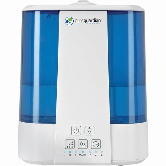 历史最低价!PureGuardian H5225WCA 10升超大容量 超声波抗菌加湿器 89.98加元包邮!
