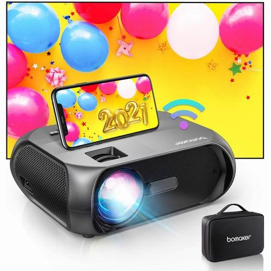 Bomaker Wi-Fi 原生720P Wi-Fi无线 LED家庭影院投影仪 120.66加元包邮!送价值59.99加元投影幕布!