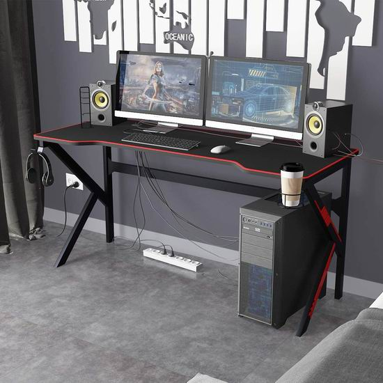 历史新低!DlandHome 63英寸 专业游戏电脑桌 199加元包邮!