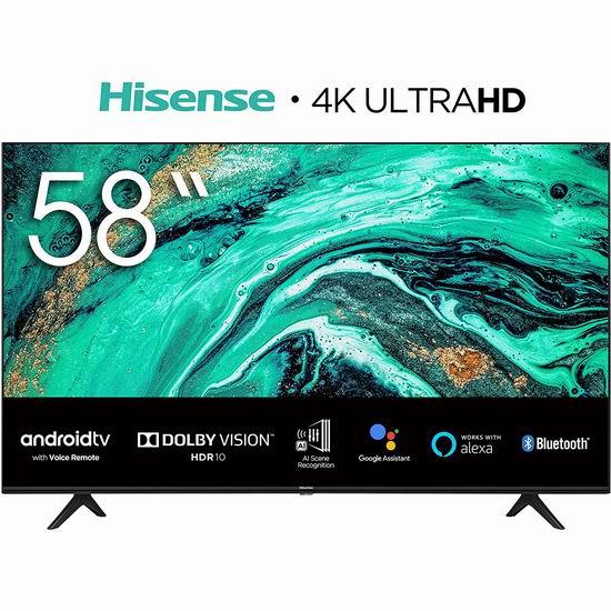 Hisense 海信 58H78G 58英寸 AI场景 4K超高清LED智能电视 478加元包邮!