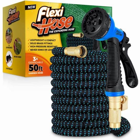 Flexi Hose 50英尺/100英尺 超耐用 花园浇水 弹性伸缩水管 30.69-41.75加元!送喷头!2色可选!