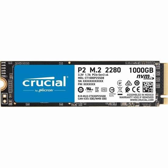 历史新低!Crucial 英睿达 P2 1TB 3D NAND NVMe PCIe M.2 SSD固态硬盘 120.99加元包邮!