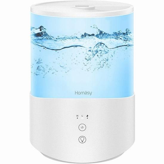 Homasy 2.5升 七色LED灯 顶部加水 超声波加湿器 47.99加元包邮!