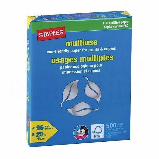 手慢无!Staples FSC认证 多用途打印纸(500页)变相5折 3.99加元包邮!