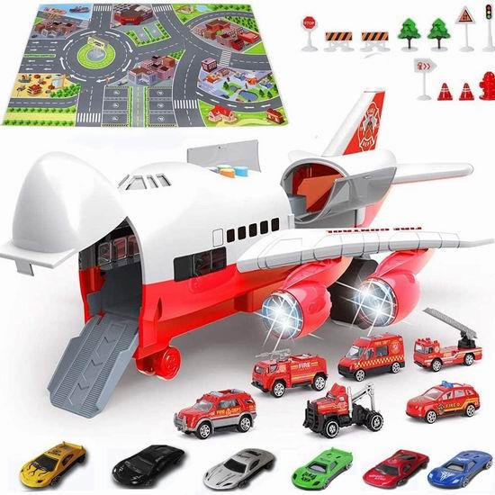 DHYY 12迷你玩具车+大型运输机+游戏毯套装5折 29.95-31.45加元包邮!2款可选!