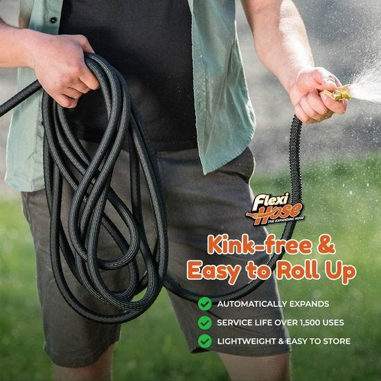 Flexi Hose 升级版 50 超耐用 花园浇水 弹性伸缩水管5.2折 26.08加元!