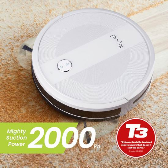 Kyvol Cybovac E20 2000Pa超强吸力 WiFi智能扫地机器人6.6折 199.99加元包邮!