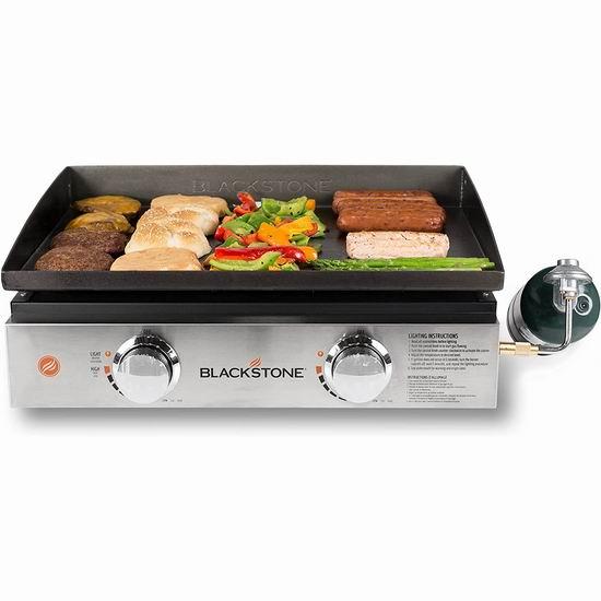 近史低价!Blackstone 22英寸 便携式 双区燃气扒炉/铁板烧5.4折 179.19加元包邮!
