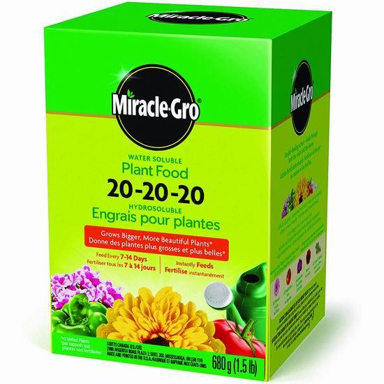 Miracle-Gro 1150612 20-20-20 水溶性植物复合肥料(1.5磅)5折 8.98加元!
