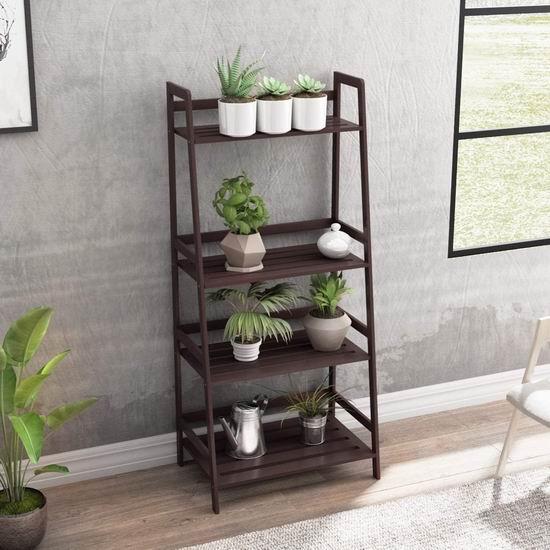 历史新低!DlandHome Bamboo 咖啡色 4层竹制置物架 45.3加元限量特卖并包邮!