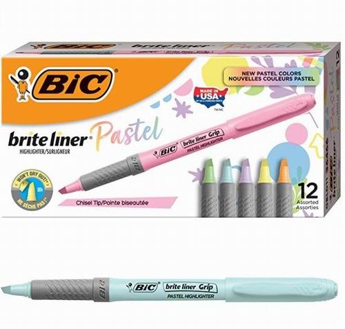 BIC Brite Liner Grip 柔和荧光笔12支装6折 7.14加元!