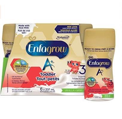 Enfagrow 美赞臣3段A+ 香草味液体奶 6× 237毫升 10.9加元