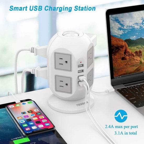 TESSAN 8插座 + 4 USB充电 插线座 30.59加元!