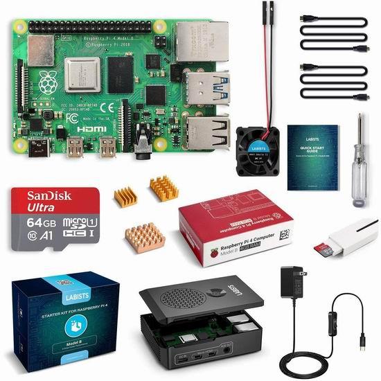 历史新低!LABISTS Raspberry Pi 4 树莓派4 + 主机板(4GB内存)+64GB Micro SD卡+电源 入门套件 108.99加元包邮!