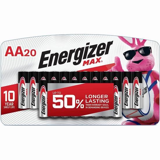 历史最低价!Energizer 劲量 Max AA 高能碱性电池20颗装3.3折 7.49加元包邮!
