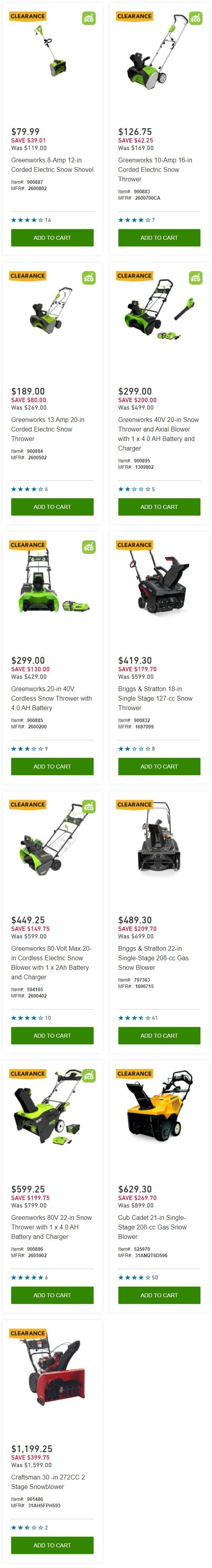 Lowe's精选多款汽油铲雪机、电动铲雪机、无绳铲雪机 79.99加元起清仓!