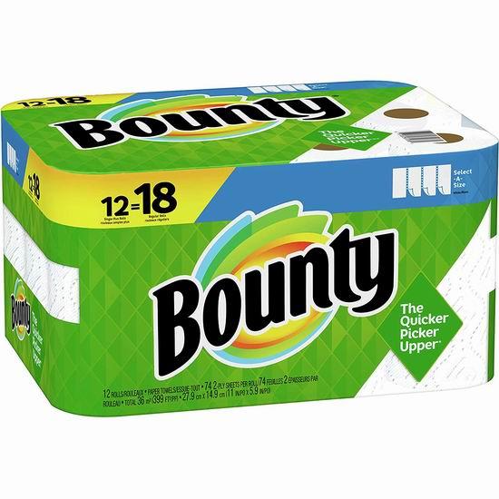 历史新低!Bounty select-a-size 双层厨房用纸12卷装6.5折 15.08加元包邮!