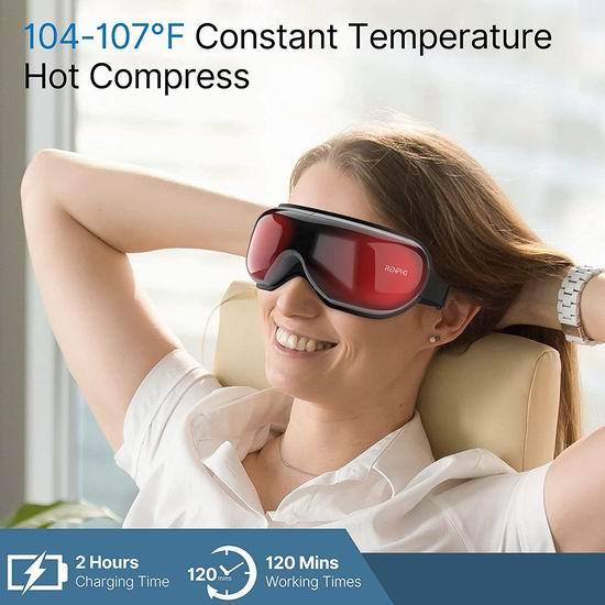 RENPHO 带加热 眼部按摩器 6.1折 54.99加元限量特卖并包邮!缓解眼疲劳,改善干眼黑眼圈,促睡眠!2色可选!