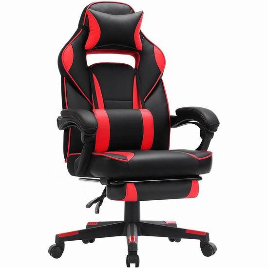 SONGMICS 人体工学 高靠背赛车办公椅/游戏椅 186.98加元限量特卖并包邮!2色可选!