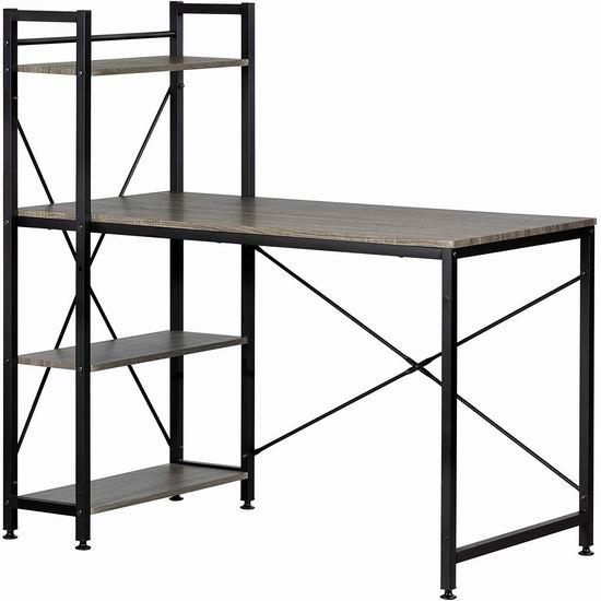 历史新低!South Shore 12114 简洁工业风 一体式书架+书桌5.3折 129.98加元包邮!比Home Depot便宜89加元!