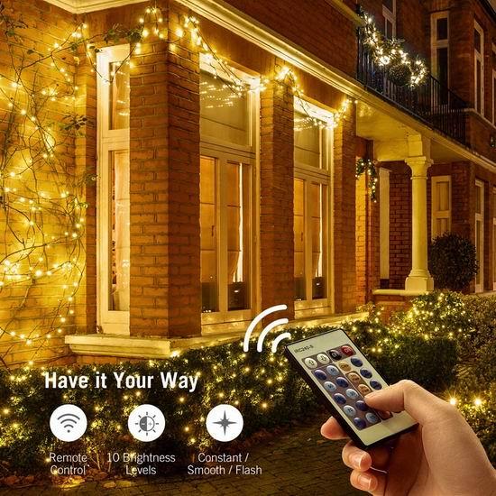 独家升级:TaoTronics 33英尺 100 LED 防水遥控装饰灯串3.3折 9.89加元清仓!免税,2套包邮!