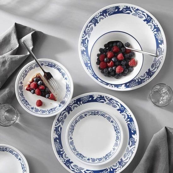 Corelle 康宁 1134333 蓝色印花餐具18件套 83.39加元包邮!